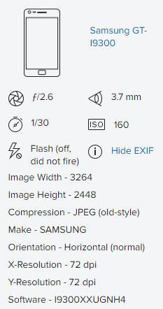 EXIF data showing that a regular smartphone was used for capturing supposedly stunning wildlife photography - hinting at intellectual property theft.